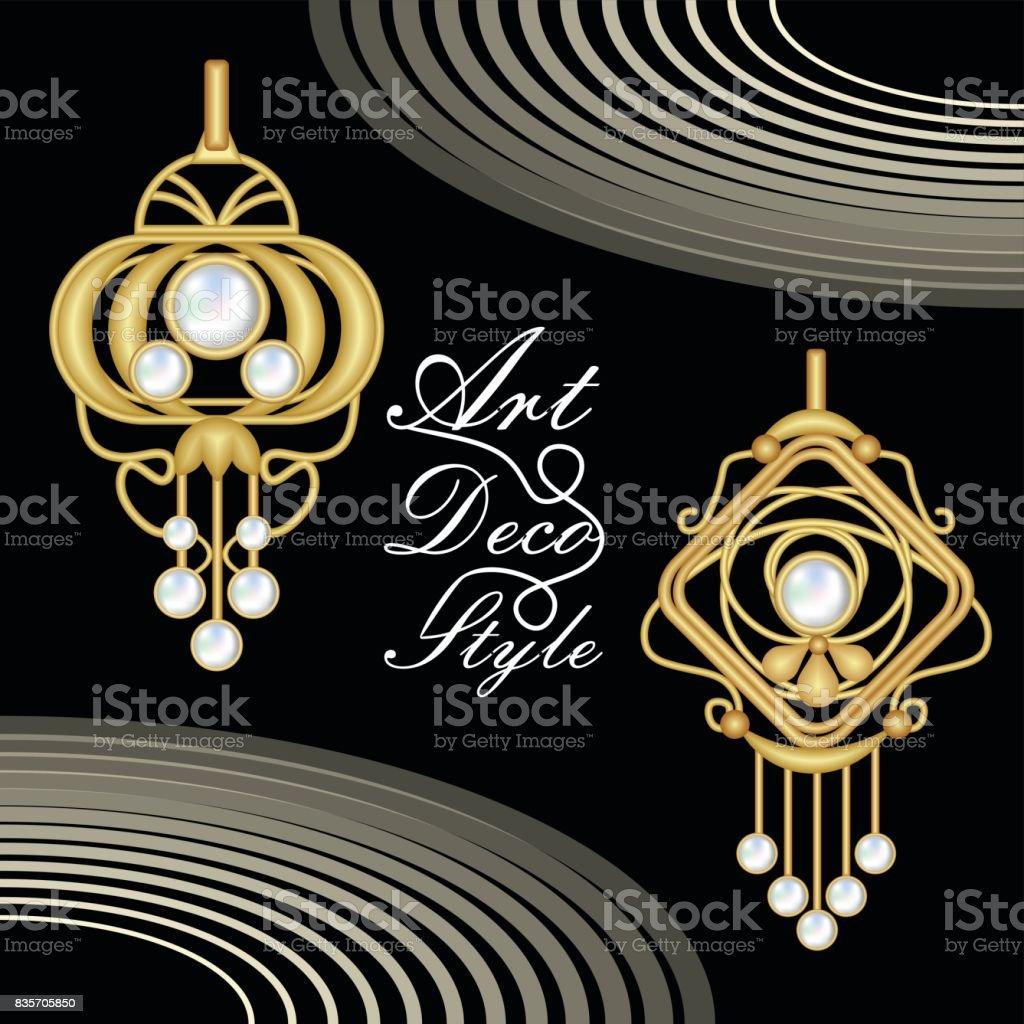 Luxuriöse Artdécofiligranen Schmuck Ohrringe Mit Perlen Antik Gold Juwel Mode Im Viktorianischen Stil Stock Vektor Art und mehr Bilder von Accessoires