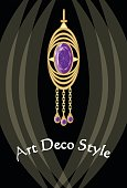 Luxurious art deco jewel, earring with purple gemstone amethyst , victorian old-fashioned style, antique expensive gold