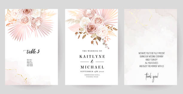 Luxurious beige and blush trendy vector design square frames Luxurious beige and blush trendy vector design square frames. Pastel pampas grass, fern, tropical palm leaves. Watercolor brush texture. Wedding cards decoration. Elements are isolated and editable weddings background stock illustrations