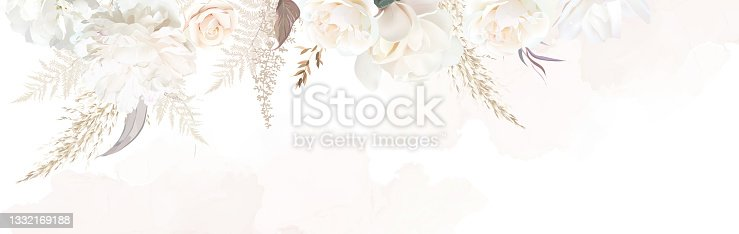 istock Luxurious beige and brown trendy vector design banner frame 1332169188