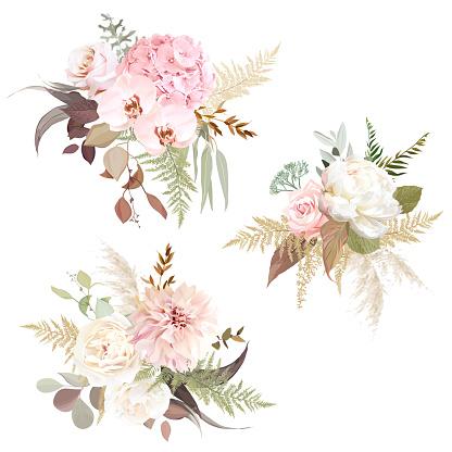 Luxurious beige trendy vector design floral bouquets