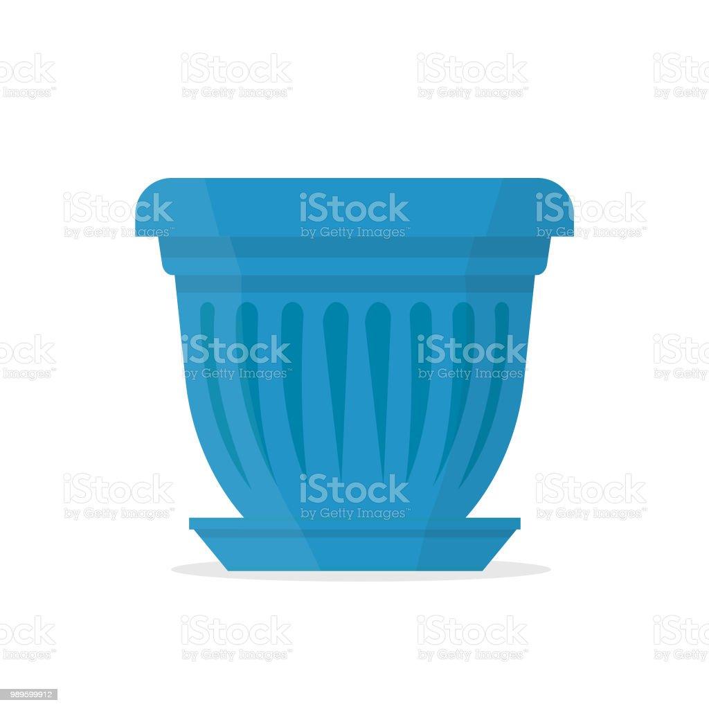 Lujosa olla azul en forma de un tulipán. Ilustración de vector. - ilustración de arte vectorial