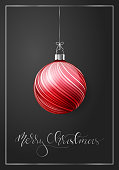 A single red Christmas ornament on a dark background. An elegant Christmas greeting card with silver lettering. EPS10 vector illustration, global colors, easy to modify.