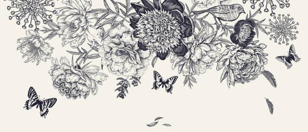 illustrazioni stock, clip art, cartoni animati e icone di tendenza di decorazione lussuosa. ghirlanda di lussuose peonie in fiore, farfalle e uccelli. - farfalla ramo
