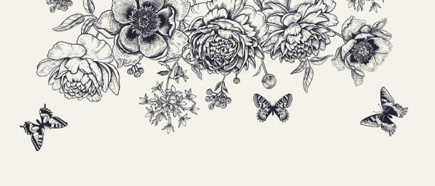 illustrazioni stock, clip art, cartoni animati e icone di tendenza di luxurious decoration. garland of luxurious blooming peonies, butterflies and birds. - farfalla ramo
