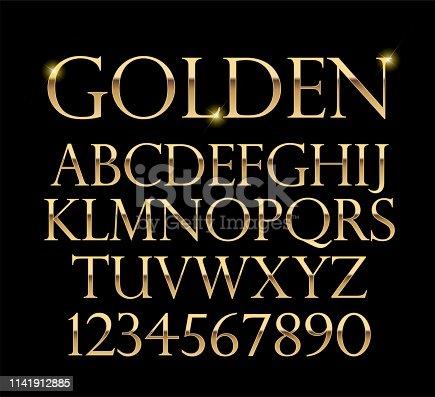 Luxurious gold alphabet vector on black background art