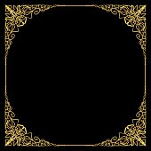 Luxurious golden frame in art deco style, rich decorated corner, square composition, circle copy space. Golden filigree geometric patterns. Embossed lace motifs, Vector EPS 10