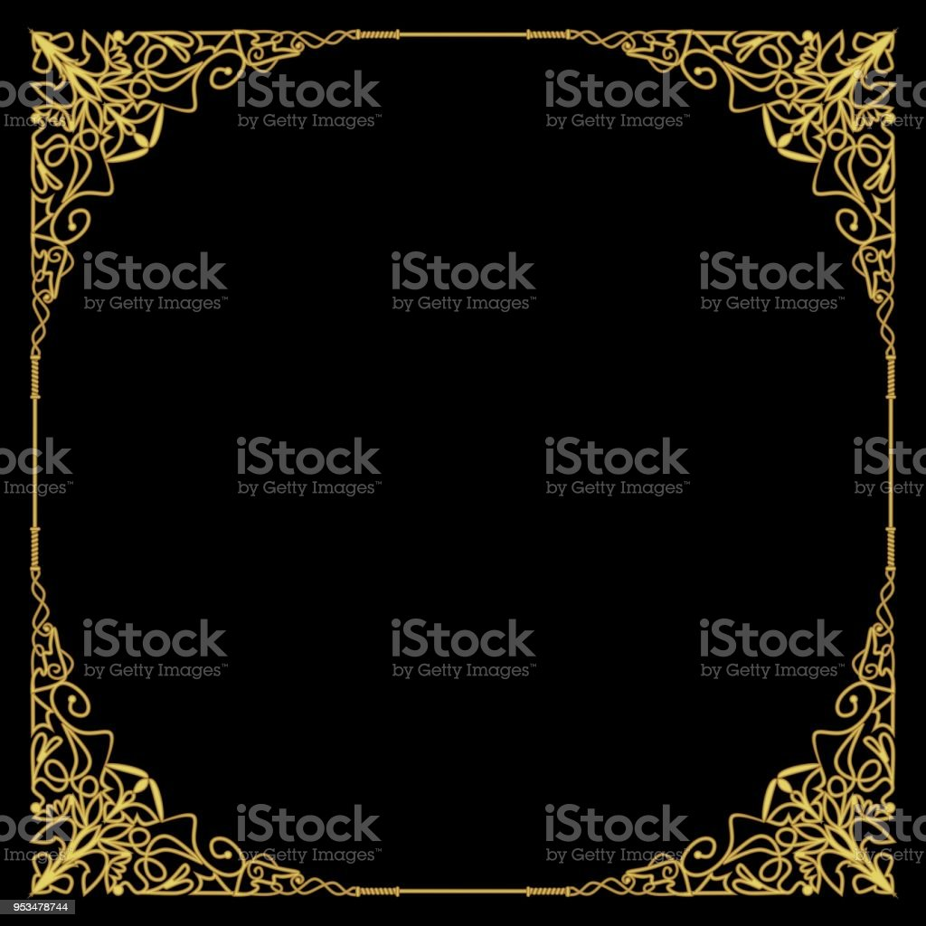 Luxurious golden frame in art deco style, rich decorated corner, square composition, circle copy space. Golden filigree geometric patterns. Embossed lace motifs vector art illustration