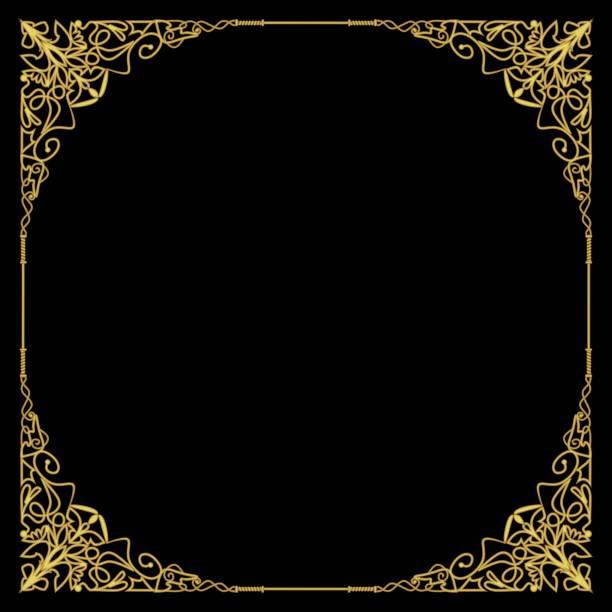bildbanksillustrationer, clip art samt tecknat material och ikoner med lyxiga gyllene ram i art déco-stil, rika inredda hörnet, fyrkantig sammansättning, cirkel kopia utrymme. gyllene filigran geometriska mönster. präglade spetsar - celebrities of age
