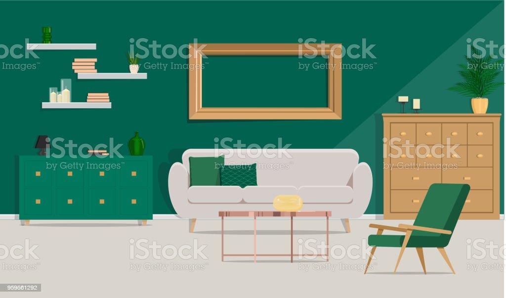 Luxuriöse Innenausstattung Mit Beige Sofa, Couchtisch Aus Metall Auf Dem  Hintergrund Der Grünen Wand.