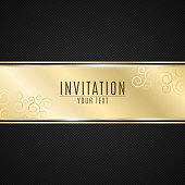 Luxurious invitation. Golden ribbon banner on a black background with a pattern of mesh. Realistic gold strip with an inscription. VIP invitation. Vector