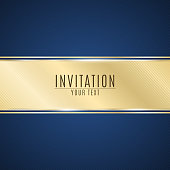 Luxurious invitation. Golden ribbon banner on a blue background with a pattern of oblique lines. Realistic gold strip with an inscription. VIP invitation. Vector