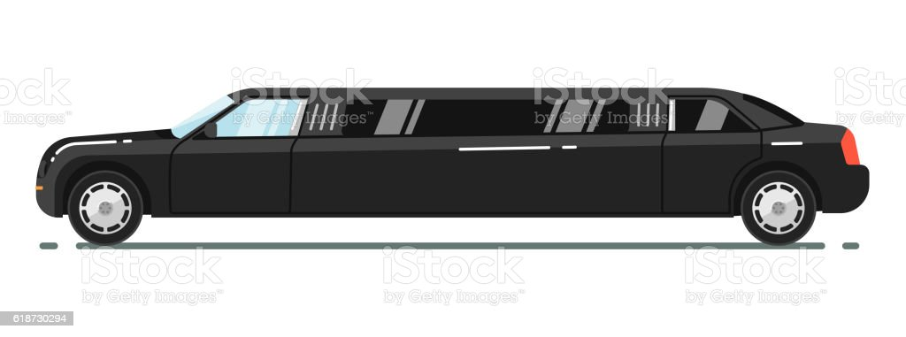 Luxurious limousine isolated on white background vector art illustration