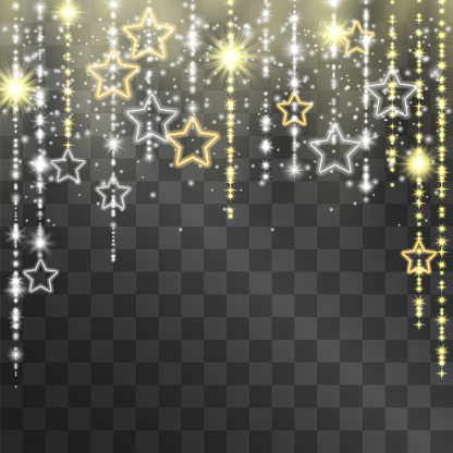 Luxurious neon golden frame with shining tinsel. Glowing lacy decorative garland for sumptuous design, invitations, event posters. Expensive arch for gala celebrations with hanging star silhouettes.