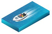 A luxurious powerboat with man and woman cruising through beautiful blue waters. Flat 3d vector isometric illustration