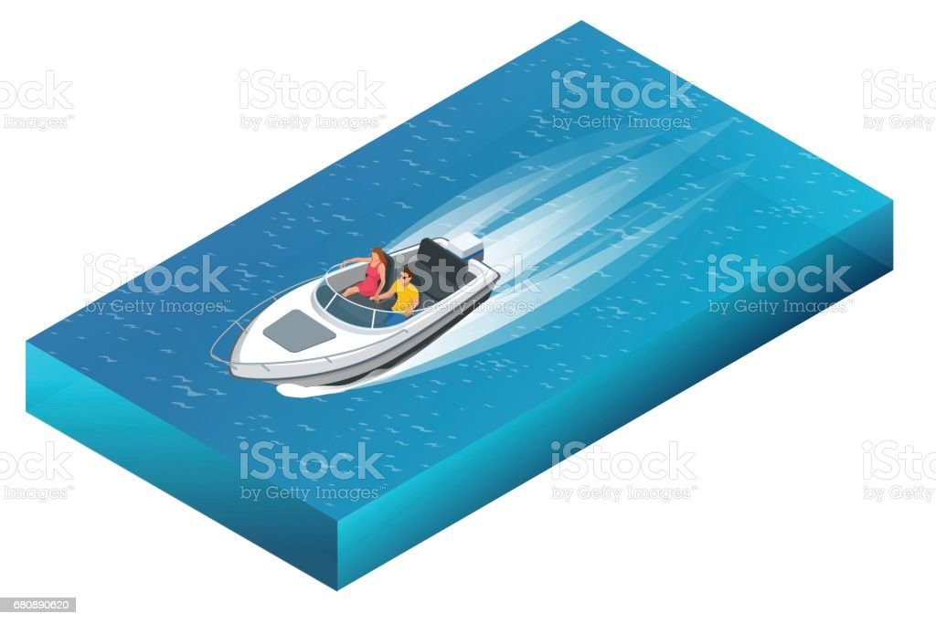 A luxurious powerboat with man and woman cruising through beautiful blue waters. Flat 3d vector isometric illustration vector art illustration