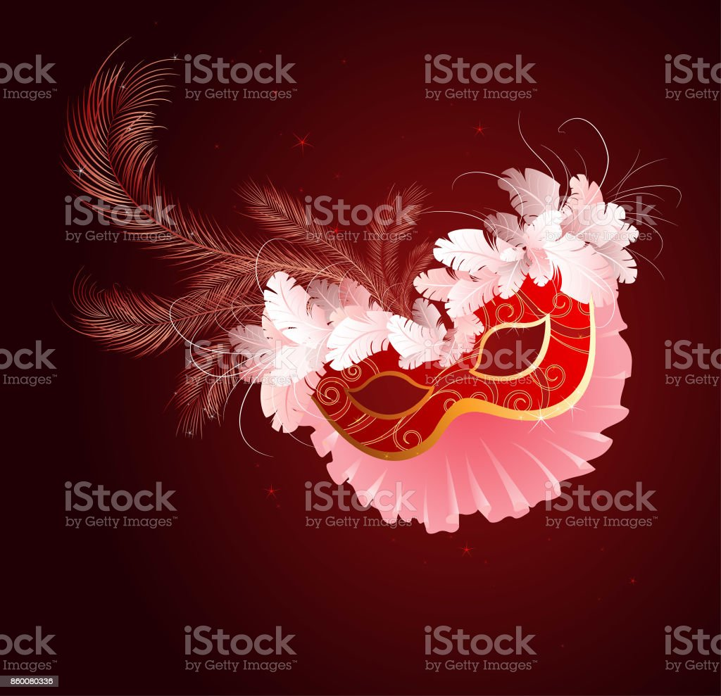 luxurious red mask with a veil vector art illustration