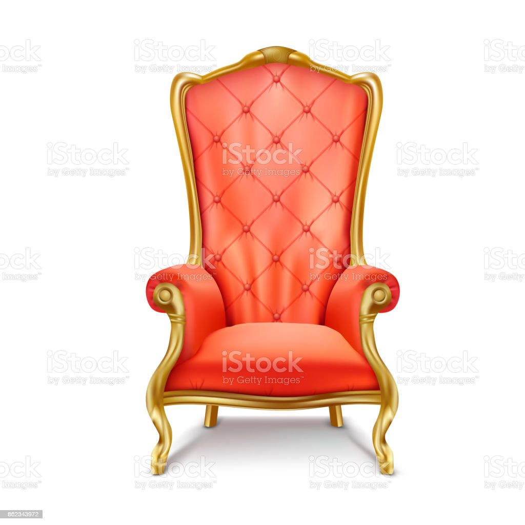 Luxurious royal red throne realistic vector vector art illustration