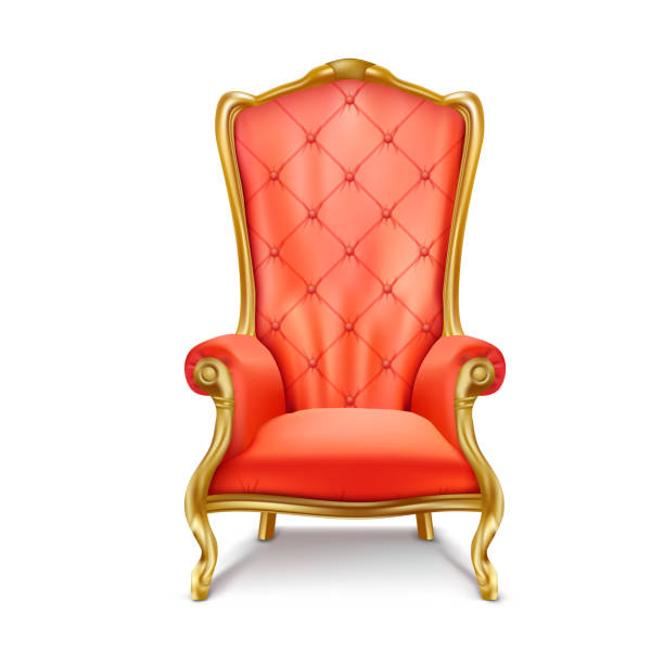 Luxurious royal red throne realistic vector Luxurious antiquarian red armchair with high backrest realistic vector illustration isolated on white background. Gilded royal throne, exclusive old  carved furniture from expensive materials icon armchair stock illustrations