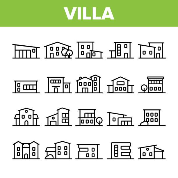 luxuriöse villa, cottage linear vector icons set - landhaus stock-grafiken, -clipart, -cartoons und -symbole