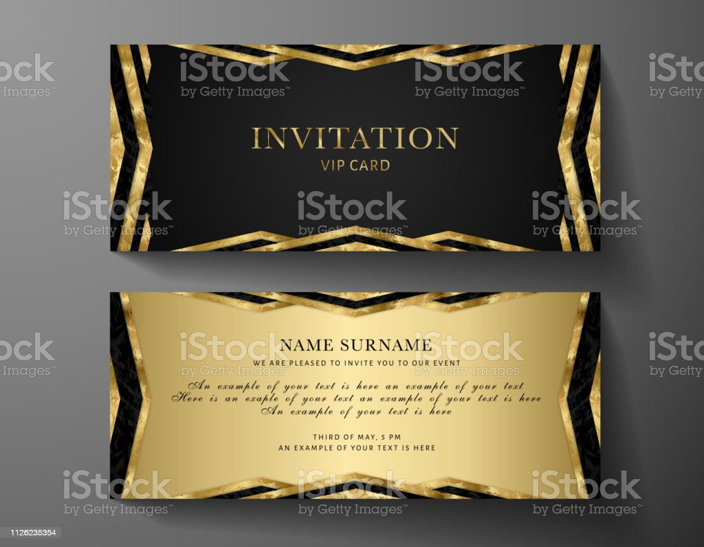 Luxurious Vip Invitation Template With Gold Black Background And Decorative  Golden Art Deco Modern Elements Stock Illustration - Download Image Now -  iStock