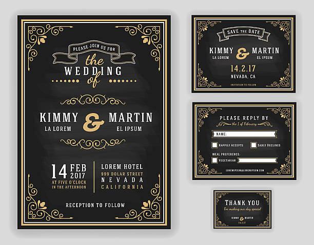 ilustraciones, imágenes clip art, dibujos animados e iconos de stock de invitación de boda de lujo - prometido