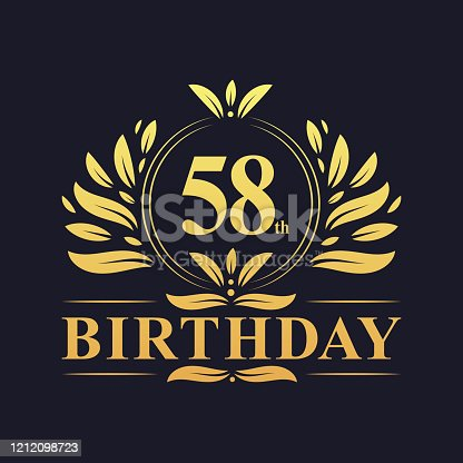 58th Birthday Design, luxurious golden color 58 years Birthday celebration.