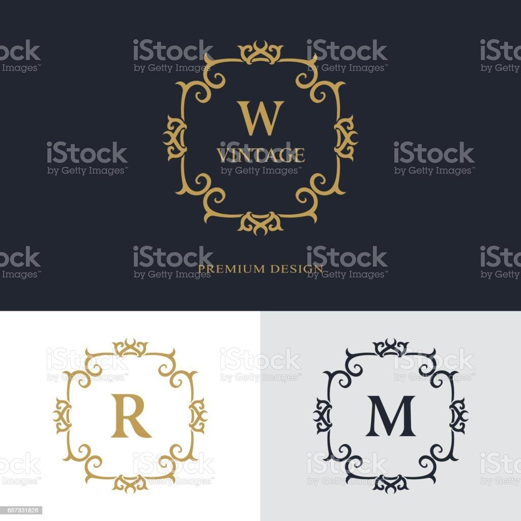 Luxe Abstract Monogram Modle Gracieux Conception Dart Calligraphique Ligne Lgante Lettre