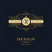 Vector illustration of Luxury Abstract Monogram, graceful template. Calligraphic elegant line art logo design. Letter emblem sign R for Restaurant, Royalty, business card, badge, Boutique, Hotel, Heraldic, Jewelry, Fashion, Real estate, Resort, Auctions.
