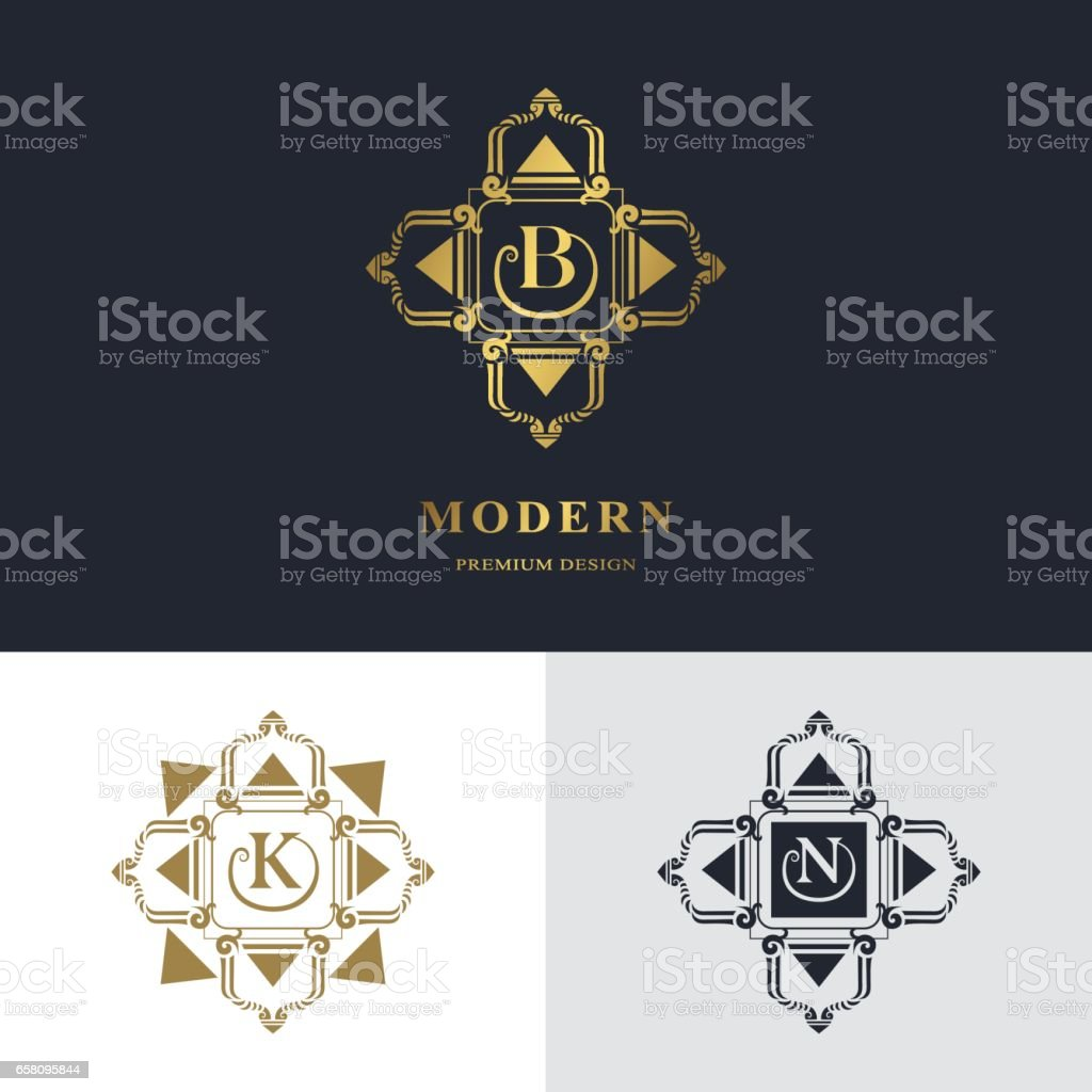 Luxury Abstract Monogram, graceful template. Calligraphic elegant line art logo design. Letter emblem sign B, K, N for Restaurant, Royalty, business card, badge, Boutique, Hotel, Heraldic, Jewelry, Fashion, Real estate, Auctions. Vector illustration royalty-free luxury abstract monogram graceful template calligraphic elegant line art logo design letter emblem sign b k n for restaurant royalty business card badge boutique hotel heraldic jewelry fashion real estate auctions vector illustration stock vector art & more images of abstract