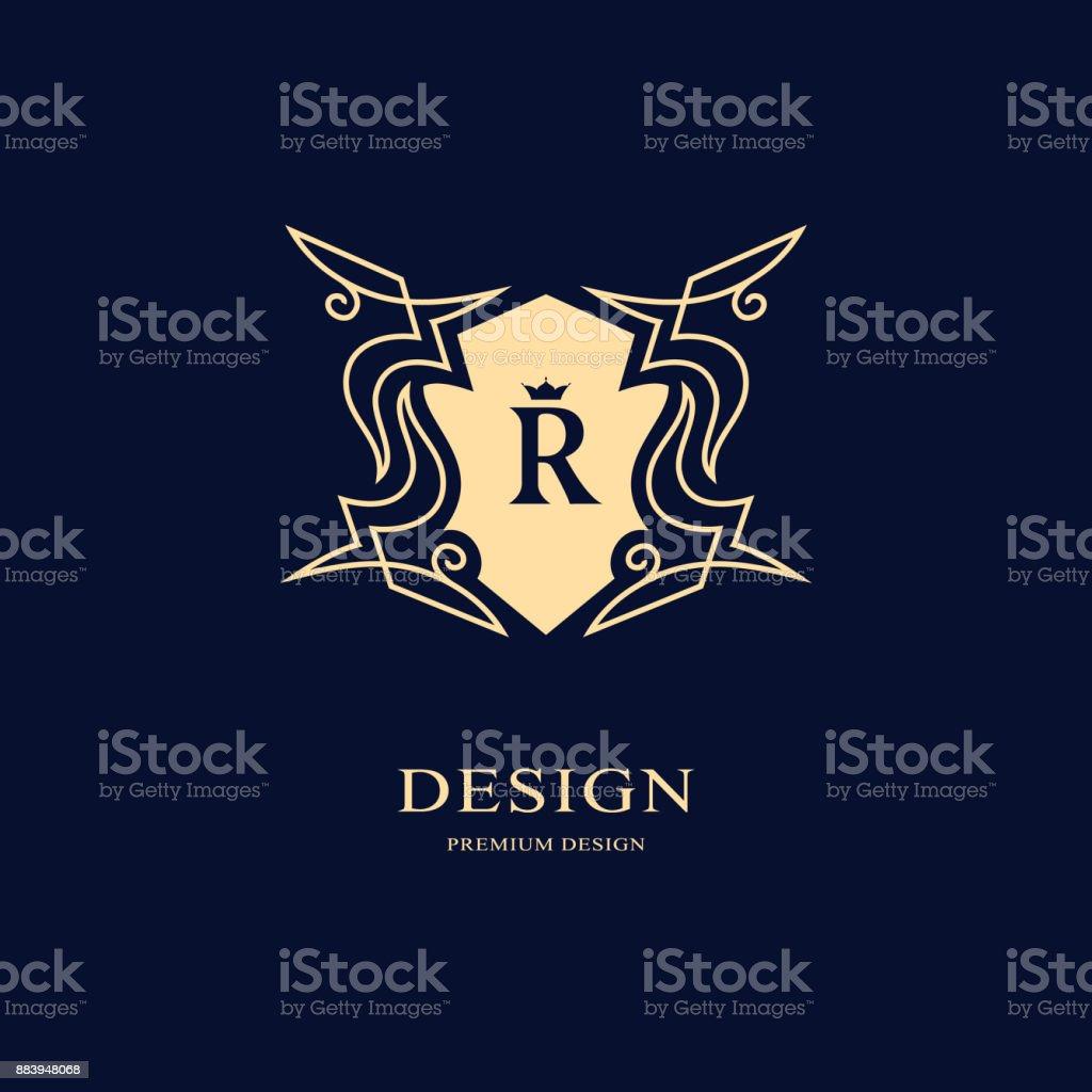Luxe Abstract Monogram Modele Gracieux Conception Dart Calligraphique Ligne Elegante Lettre