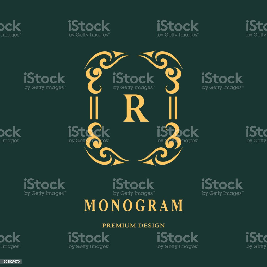 Luxe Abstract Monogram Modele Gracieux Conception Dicone Dart Calligraphique Ligne