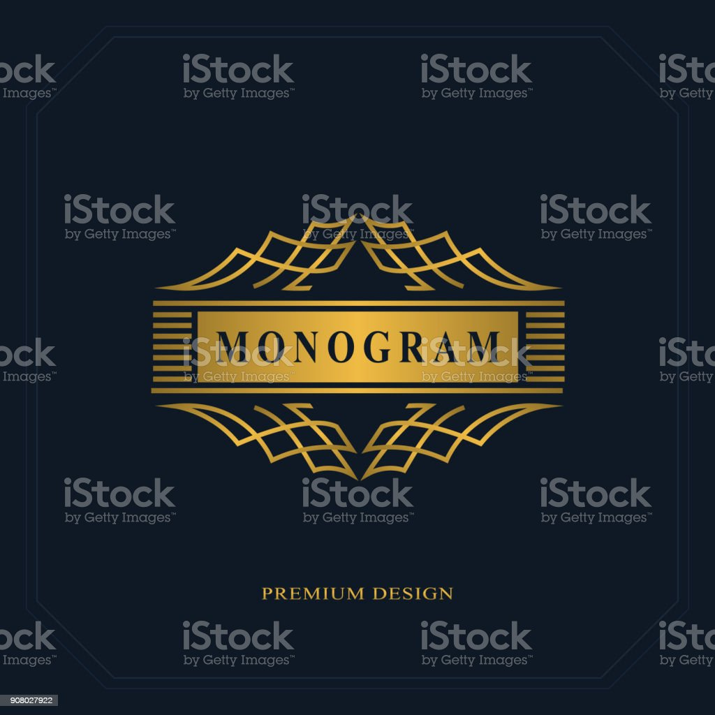 Luxe Abstract Monogram Modle Gracieux Conception Dicne Dart Calligraphique Ligne