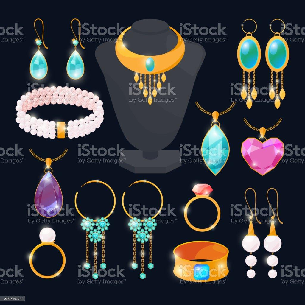 Luxus-Accessoires für Schmuck. Ringe aus Gold, Diamanten, Rubin. Vektor-Bilder eingestellt isolieren – Vektorgrafik