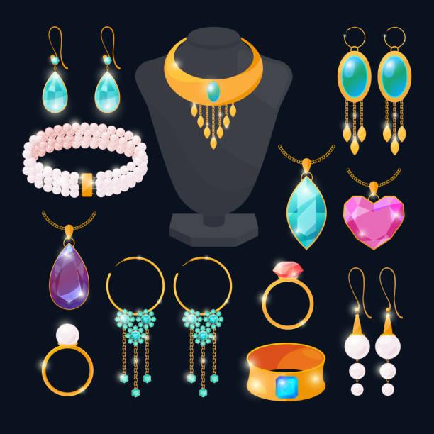 ilustrações, clipart, desenhos animados e ícones de acessórios de luxo para a joia. anéis de ouro, diamantes, rubi. imagens de vetor definido isoladas - jóia