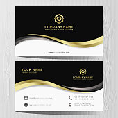 Luxury and elegant black gold business cards template on black background