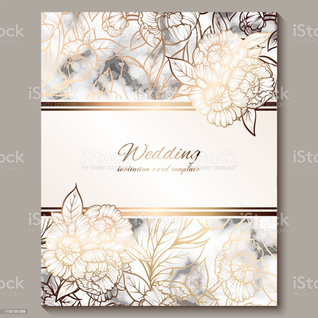 Luxury And Elegant Wedding Invitation Cards With Marble