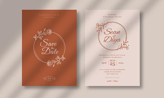 luxury and minimal wedding invitation card template