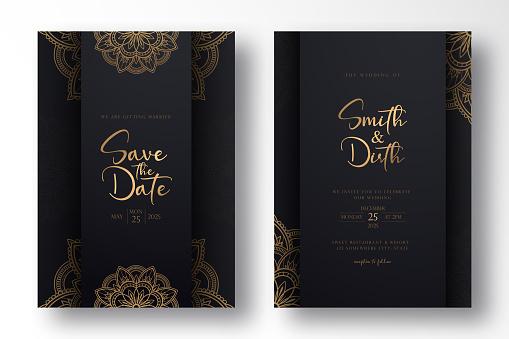 luxury and minimalist Wedding invitation card template design