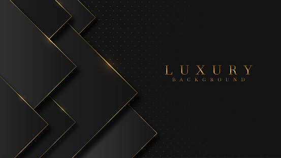 Luxury arrow Gold line Background VIP with black metal texture in 3d abstract style. Illustration from vector about modern template design for strong feeling and technology and futurism.