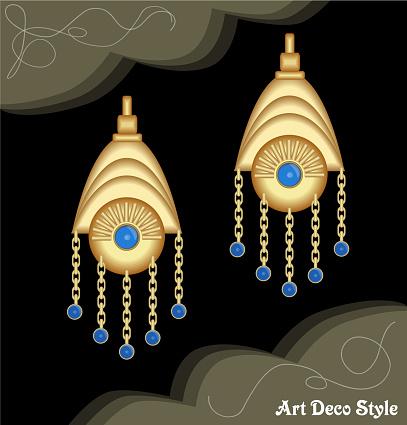 Luxuriöse Artdécofiligrane Kette Ohrringe Juwel Mit Kleinen Blauen Saphir Antik Elegante Goldschmuck Mode Im Viktorianischen Stil Stock Vektor Art und