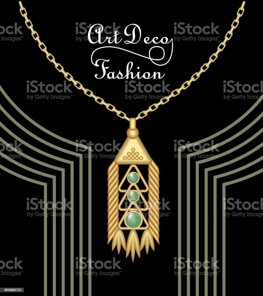 Luxuriöse Artdécofiligrane Anhänger Juwel Mit Grünen Smaragd Auf Goldene Kette Antike Elegante Goldschmuck Mode Im Viktorianischen Stil Stock Vektor