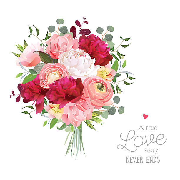 Luxury autumn vector bouquet with ranunculus, peony, rose, carnation Luxury autumn vector bouquet with ranunculus, peony, rose, carnation, green plants on white vector design set. Bunch of flowers in modern mixed style. All elements are isolated and editable. bunch stock illustrations