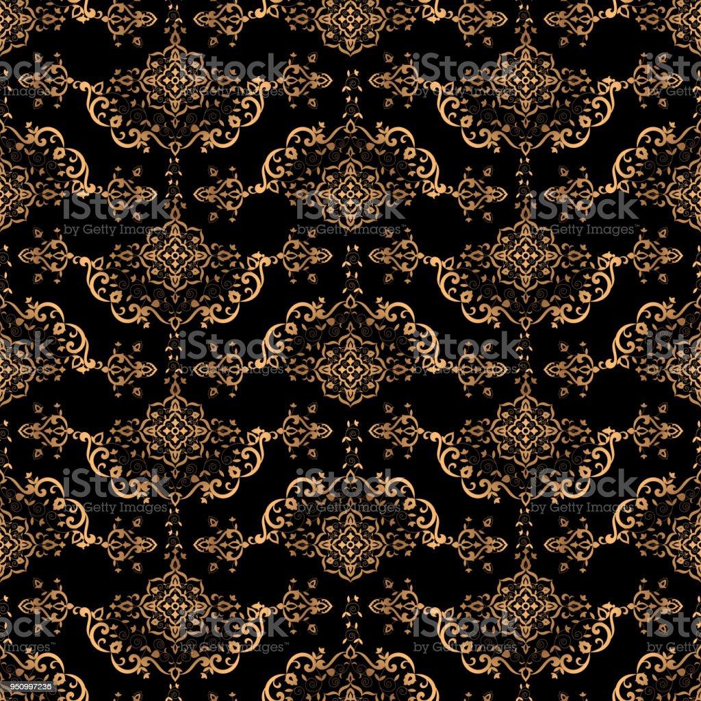 Luxury Background Design Pattern Vector Seamless Gold Black Vintage Ornament Royal Victorian Print
