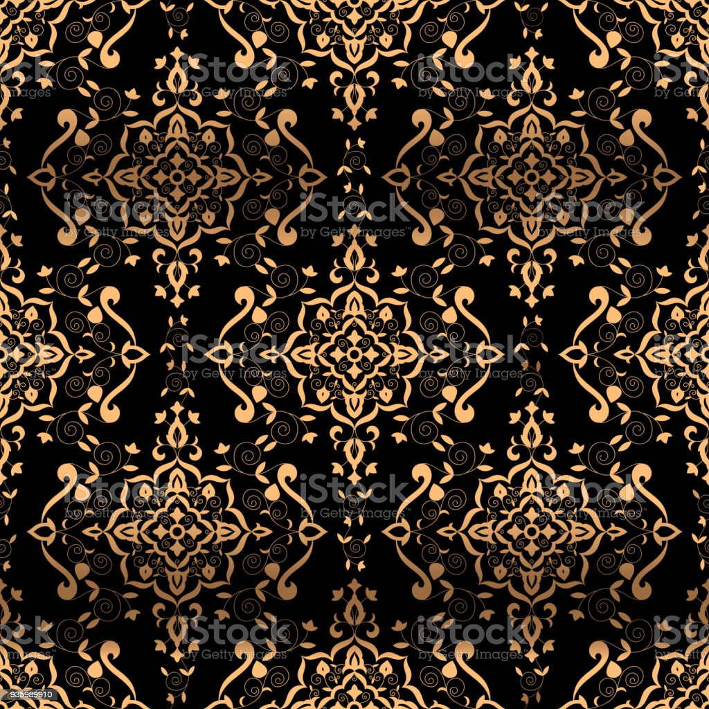 Luxury Background Design Pattern Vector Seamless Golden Vintage Art Deco Ornament Royal Indian Print