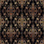 Luxury background design pattern vector seamless. Golden vintage art deco ornament. Royal indian print. Design for wedding, wallpaper, yoga, bridal fashion, beauty spa salon or holiday party card.