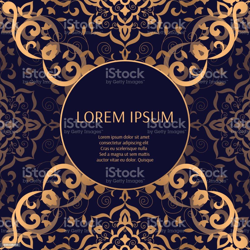 Luxushintergrundmustervektor Goldene Hochzeit Rahmendesign