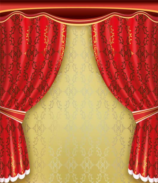 illustrazioni stock, clip art, cartoni animati e icone di tendenza di luxury background. red curtain with golden pattern and ornament - sipario