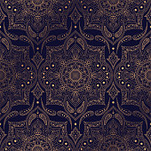 Luxury background vector. Ethnic royal pattern seamless. Paisley design for Christmas party, New Year holiday wrapping paper, yoga wallpaper, beauty spa salon ornament, wedding, gift packaging.