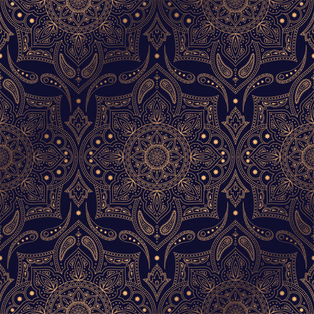 illustrazioni stock, clip art, cartoni animati e icone di tendenza di luxury background vector. ethnic royal pattern seamless. paisley design for christmas party, new year holiday wrapping paper, yoga wallpaper, beauty spa salon ornament, wedding, gift packaging. - sfondo matrimoni
